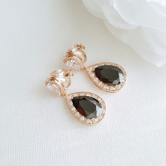 Black Clip On Drop Earrings in Rose Gold-Zoe