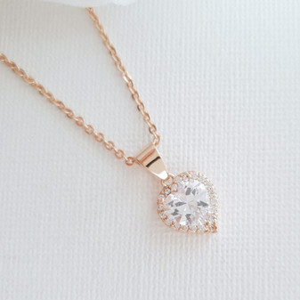 Rose Gold Heart Necklace for Brides, Weddings, Bridesmaids- Poetry Designs