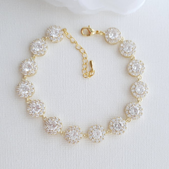 Gold Bridal Bracelet for Weddings in Round Cubic Zirconia -Cristle