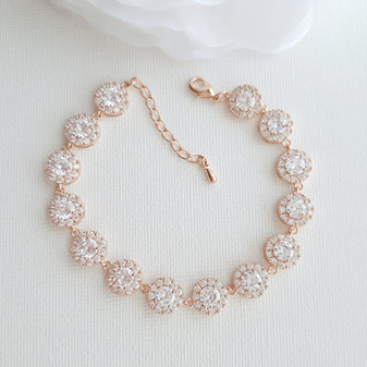Round Clear Cubic Zirconia Rose Gold Bridal Bracelet for Weddings-Cristle
