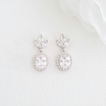 Small Bridesmaids Earrings in Silver- Emily