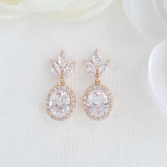 Small Bridal Earrings With Oval Crystals & Rose Gold- Emily