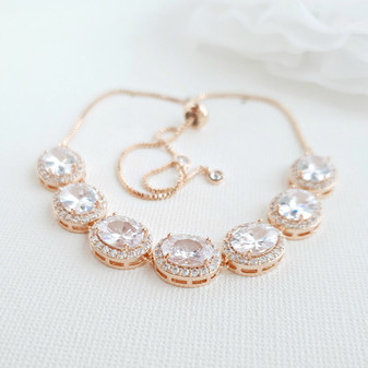 Gold and Cubic Zirconia Bridal Bracelet- Emily
