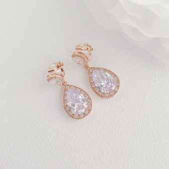 Rose Gold Wedding Earrings with Clip On-Evelyn