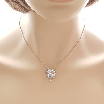 Flower Drop Necklace-Dahlia