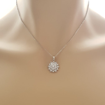 Flower Pendant Necklace in Silver-Floret