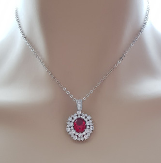 Red Stone Necklace-Cherry
