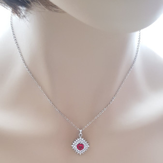 Red Pendant Necklace- Bright Red