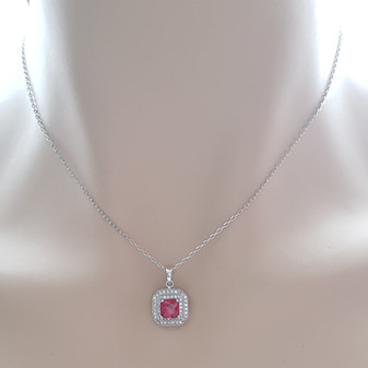 Red Square Pendant Necklace-Quad Red