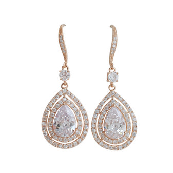 Rose Gold Large Teardrop Dangle Earrings-Joni
