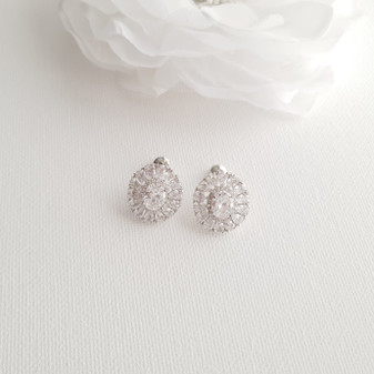 Oval Stud Earrings for Brides-Indigo