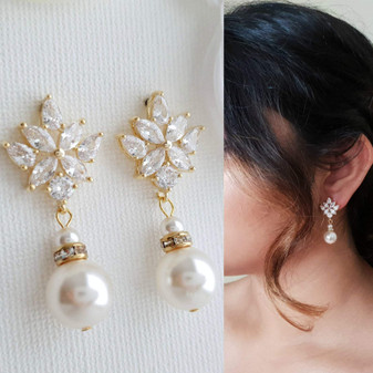 Bridal Drop Earrings Gold With Round Pearls- Rosa