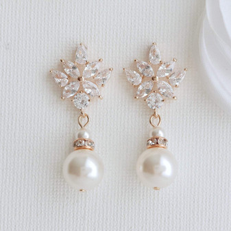 Wedding Drop Earrings in Rose Gold & Round Pearls- Rosa