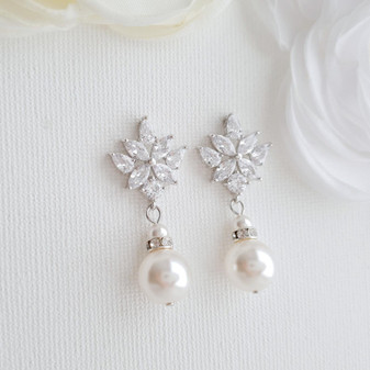 Bridal Earrings with Round Pearl Drops in Silver- Rosa