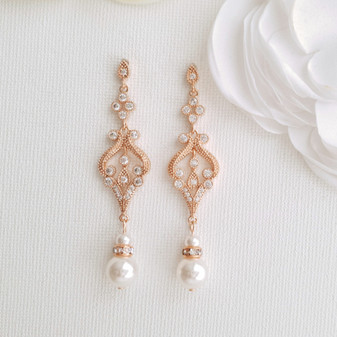 Vintage Bridal Earrings in Rose Gold-Elizabeth