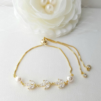 Delicate Gold Bracelet for Brides & Ladies in Marquise Cubic Zirconia( CZ) for Wedding - Leila