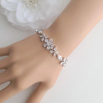 Cubic Zirconia Wedding Flower Bracelet for Brides- Daisy