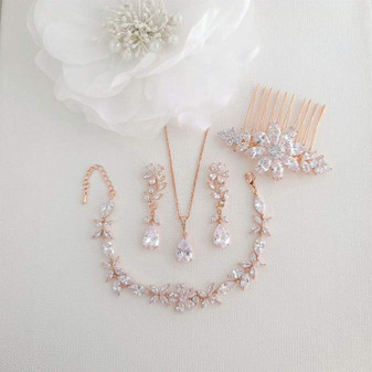 Rose Gold Jewelry Set for Wedding-Daisy