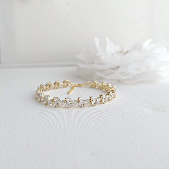 Bridal Tennis Bracelet With Gold Metal and Cubic Zirconia Leaf-Debra