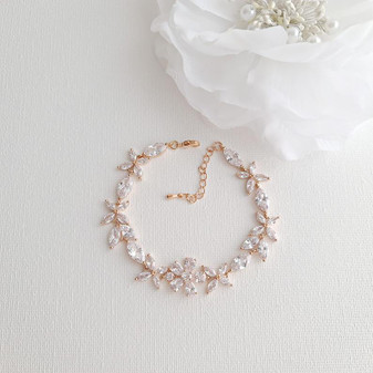 Floral Bridal Bracelet in Rose Gold & CZ Crystals- Daisy