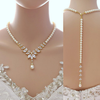 Pearl Strand & Crystal Gold Necklace for Wedding with Backdrop-Katie