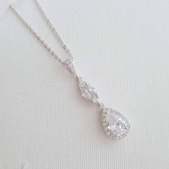 CZ Drop Pendant Necklace in Silver for Bridesmaids & Brides-Hayley