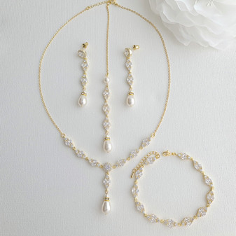 Gold Bridal Jewellery Set with Pearl Crystal Earrings Back Necklace Bracelet Set-Hayley