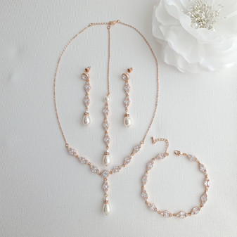 Rose Gold Back Jewellery Set with Necklace Bracelet Earrings for Weddings-Hayley