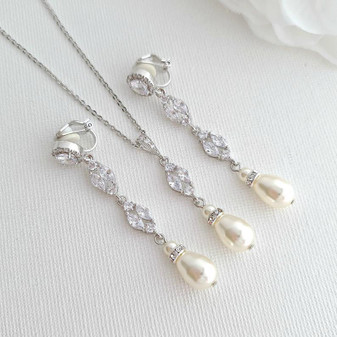 Long Clip on Earrings and Necklace Jewellery Set for Weddings-Hayley