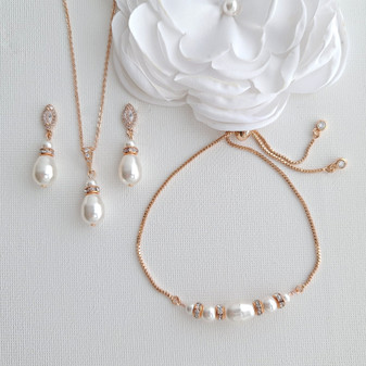 Simple Pearl Wedding Jewellery Set with Pearl Earring,Necklace,Bracelet for Brides-Ella