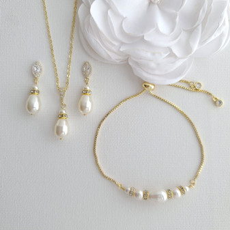 Jewellery Set for Brides With Pearl Bracelet+Pearl Earrings+Pearl Necklace-Ella