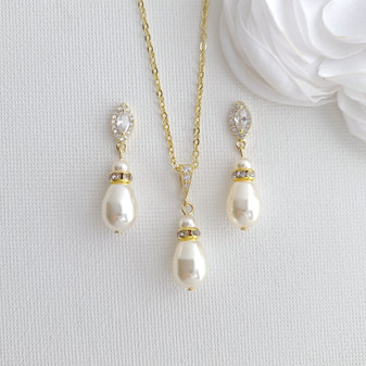 Affordable Pearl Bridesmaid Jewellery Set in Silver Gold Rose Gold Tones- Ella