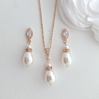 Bridesmaids Jewellery Gift with Pearl Earrings Necklace Set- Ella