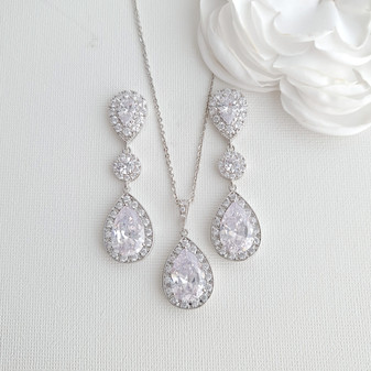 Simple Cubic Zirconia Necklace Set with Long CZ Earrings for Wedding- Penelope