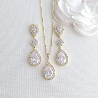 Gold Wedding Jewelry Sets for Brides With Earrings Necklace Together- Penelope