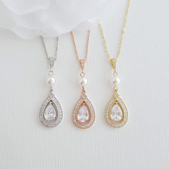 Teardrop Shape Rose Gold & Cubic Zirconia Wedding Necklace -Sarah