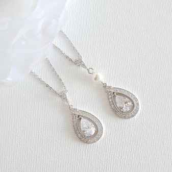 Silver Plated Teardrop Cubic Zirconia Crystal Necklace for Wedding- Sarah