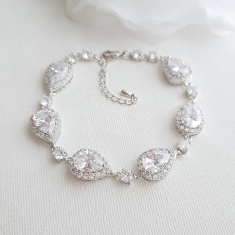 Wedding Bracelet for Brides in Teardrop Shape Cubic Zirconia Crystals-Emma