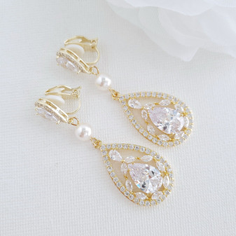 Clip On Drop Earrings in Gold-Esther