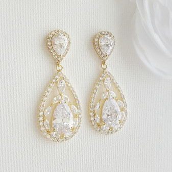 Gold Plated Drop Earrings for Wedding-Esther