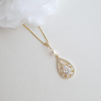 Teardrop Cubic Zirconia Pendant Necklace in 14K Gold for Weddings-Esther