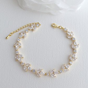 Light Gold Colour Bridal Bracelet-Anya
