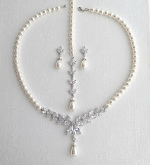 Pearl Bridal Jewelry Set Silver- Katie