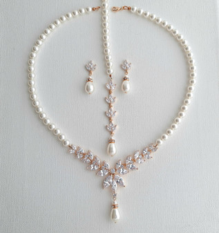 Pearl Necklace and Earrings Wedding Jewelry Set- Katie