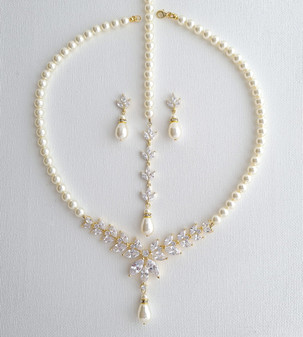 Pearl Bridal Jewelry Set in Ivory White or Cream Pearl Color with Necklace, Backdrop & Earrings-Katie