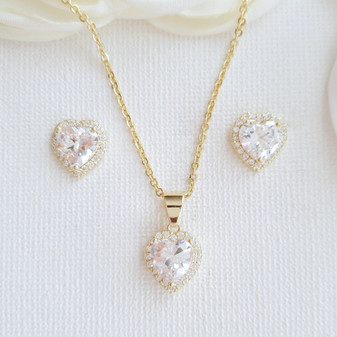 Gold Heart Necklace Set with Stud Earrings-Diana