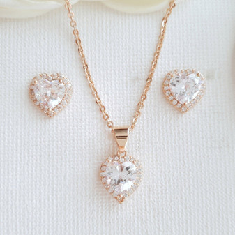 Rose Gold Bridesmaids Jewelry Set with Heart Stud Earrings & Necklace-Diana