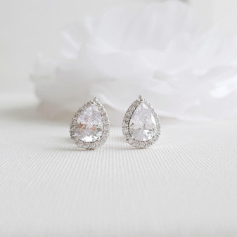 Clip On Bridal Stud Earrings for Weddings,Brides,Bridesmaids- Emma