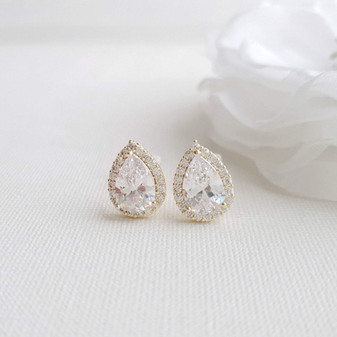 Gold Clip On Earrings in Teardrop CZ for Brides Bridesmaids-Emma
