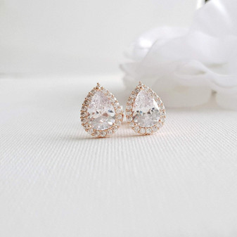 Teardrop Stud Earrings with Clip On-Emma